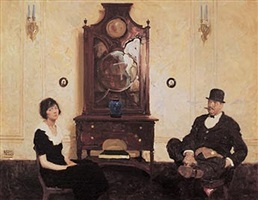 couple in parlor by dean cornwell