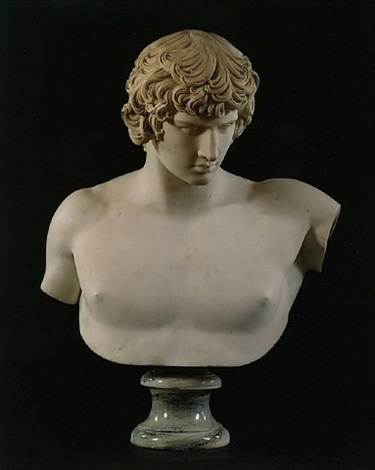 an exremely fine overscaled bust of antinous