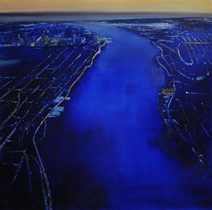 nyc, view down the hudson to manhattan by david allen dunlop