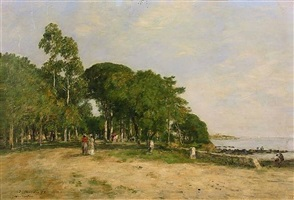 juan les pins. la promenade et la baie by eugène boudin