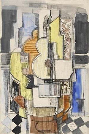 interieur cubiste a la guitare by ismael gonzález de la serna