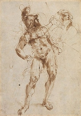 study of a soldier and of an old man by guercino