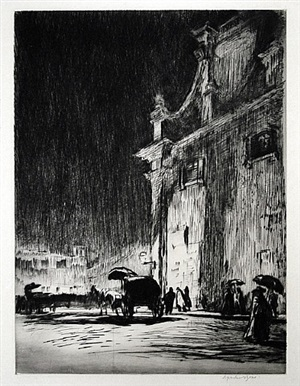 rainy night in rome by muirhead bone