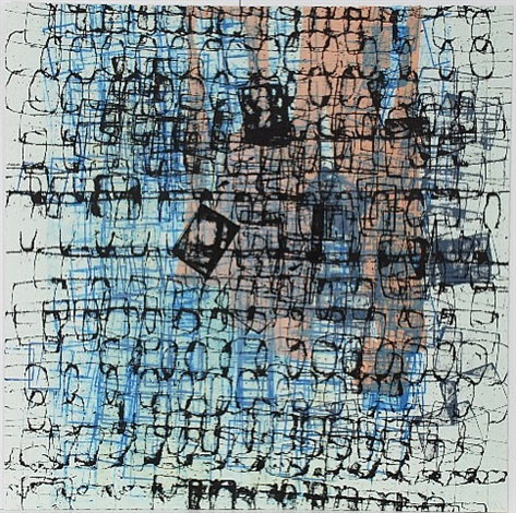 untitled (black and blue) by mark bradford