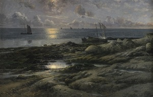 fishing boats at dusk by johan ericson