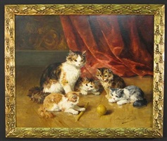 kittens playing by alfred arthur brunel de neuville
