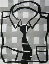 gray square shirt and tie by tom slaughter