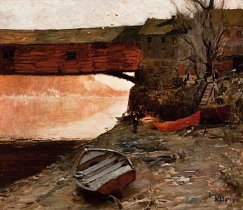 old covered bridge, new hope by william langson lathrop