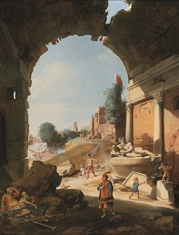 figures among ruins by the tiber by bartholomeus breenbergh