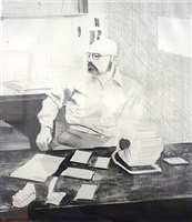 sidney in his office by david hockney