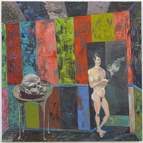 salome painting: head of the table by richard hawkins