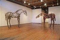 2011 gallery installation view of tracery, 2010 (left) and madroño, 2009 (right) by deborah butterfield