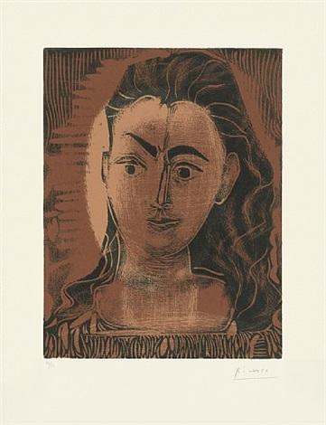 portrait de jacqueline en robe imprimée, petite buste de femme by pablo picasso