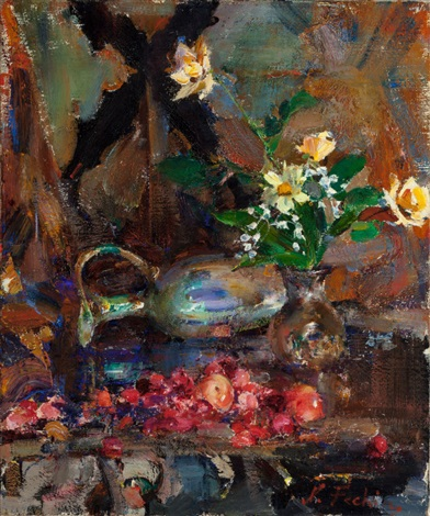Still life with cherries pitcher and bouquet by nicolai for Nicolai fechin paintings for sale
