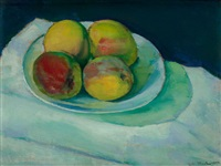 peaches in a white bowl by charles sheeler
