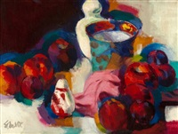 still life of vase and fruit (reflections in red) by stanton macdonald-wright