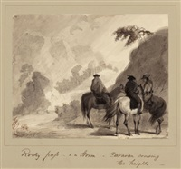 rocky pass in a storm, caravan crossing the heights, circa 1837 by alfred jacob miller