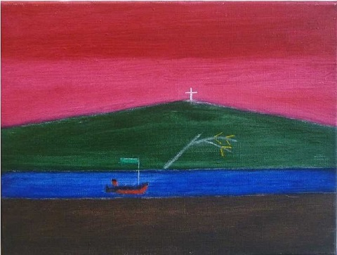 boat with green flag by craigie aitchison