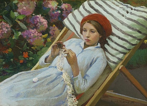 girl with a red beret by harold harvey