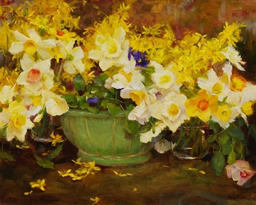 daffodils and forsythia (sold) by kathy anderson