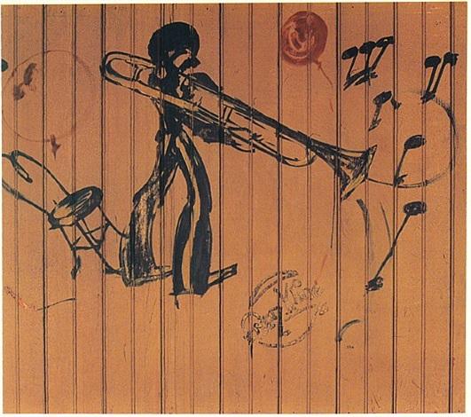 trombonist from the jazz murals (# 2 of 5) by franz kline