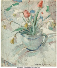 Still life with daffodils and tulips