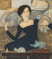 martha and two cats by will barnet