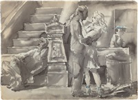 sidewalk scenes (double-sided work) by reginald marsh