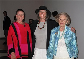 pictured here left to right, art dealer miss barbara nino, artist nancy jurs, and sylvia rosen museum patron