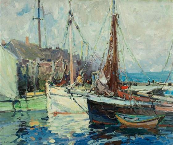 A Fish Buyers Wharf by Harry Aiken Vincent on artnet