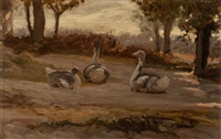 geese and archway with woman (two works) by elihu vedder