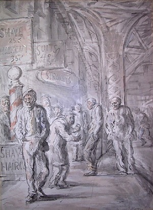 "bowery scene ""strokey's"" by reginald marsh"