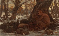 young marsyas charming the hares by elihu vedder