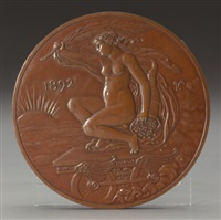 medal for columbian exposition, for the 400th anniversary for the landing of columbus, october 21, 1892 by elihu vedder