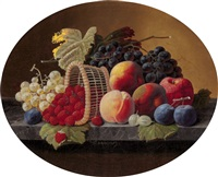 still life with peaches, grapes and basket of strawberries by severin roesen