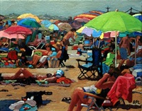 sunbather surrounded by umbrellas by roxann poppe leibenhaut