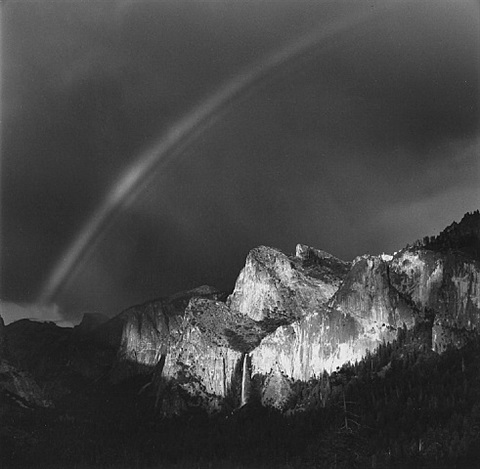 rainbow and bridalveil fall, yosemite national park, ca, 1987 by bob kolbrener
