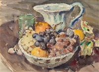still life with fruit and pitcher by clarence hinkle