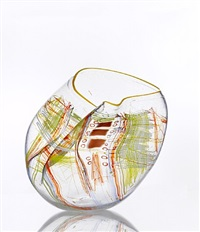 clear soft cylinder with saffron lip by dale chihuly