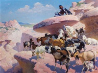 land of navaho (young indian goat herder) by william robinson leigh