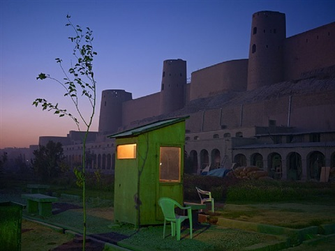 a security guard's booth at the newly restored ikhtyaruddin citadel, herat by simon norfolk