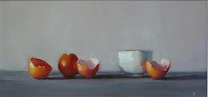 eggshells with white cup by susan nally