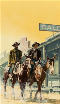 two men on horseback, probable book cover by george gross