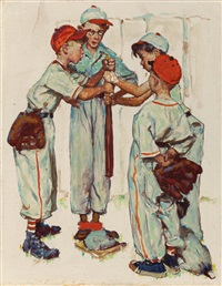 choosing up (four sporting boys: baseball), preliminary brown & bigelow four seasons calendar illustration, spring by norman rockwell