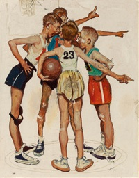 oh yeah (four sporting boys: basketball), preliminary brown & bigelow four seasons calendar illustration, winter by norman rockwell