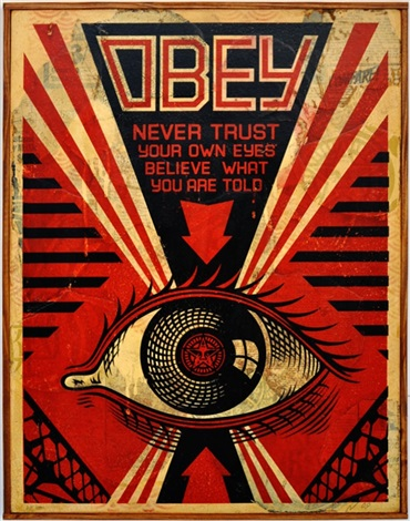 obey eye hand painted multiple collage on wood by shepard fairey