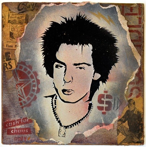 sid vicious retired stencil collage by shepard fairey