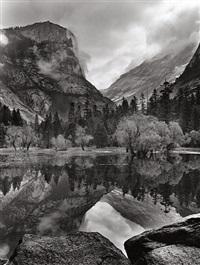 mirror lake, yosemite national park, ca, 1968 by bob kolbrener