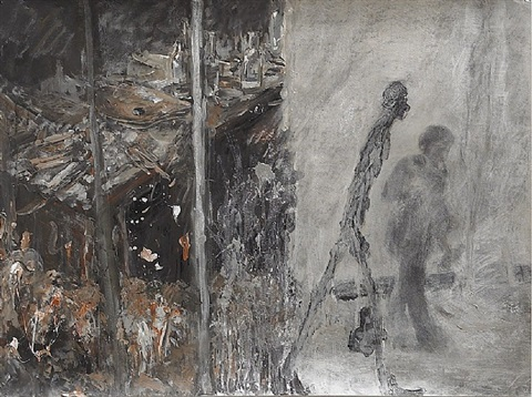 dedicated to giacometti - the standing man by qi lan