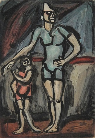 clown et enfant by georges rouault